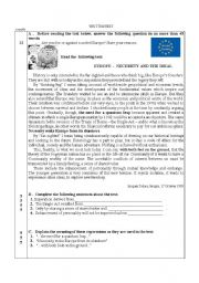 English Worksheet: Test on Europe