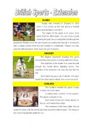 English Worksheet: British Sports-Reading
