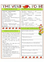 English Worksheet: TO BE - present forms