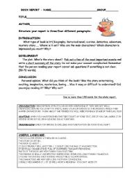 English Worksheet: BOOK REPORT INSTRUCTIONS