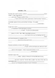 English worksheet: Australia - pair dictation