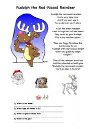 English Worksheet: A Christmas song �Rudolph the red-nosed reindeer