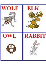 English Worksheets: Animal cards 2.
