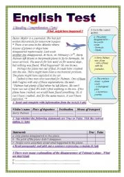 English Worksheet: English Test (3 parts): Reading Comprehension/Grammar+ Vocabulary/Writing