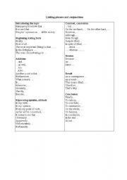 English Worksheets: Linking Phrases and conjunctions