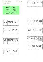English Worksheet: DIPHTHONGS Dominoes 1