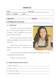 English Worksheet: English test - 6th grade part1