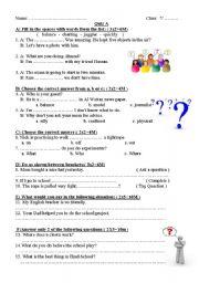 English worksheet: a short quiz