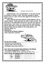 English Worksheets: Animals Extinction