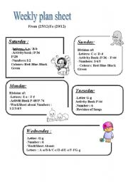 English Worksheets: weekly plan