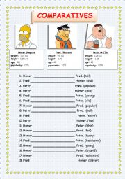 English Worksheets: Comparatives; Homer Simpson  - Fred Flintstone - Peter Griffin