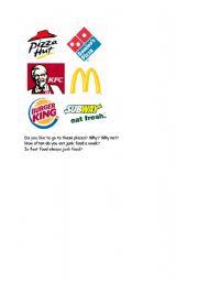 English Worksheet: Junk food and junk food restaurants