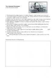 English Worksheets: Industrial Revolution