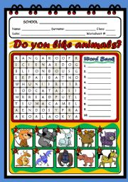 English Worksheet: DO YOU LIKE ANIMALS?