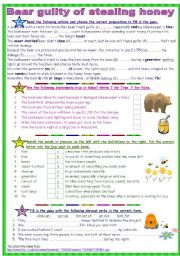 English Worksheets: Bear guilty of stealing honey (B&W copy + Answer Key)