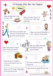 English Worksheets: jokes: 10 reasons why men are happier!