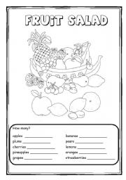 English Worksheet: Fruit Salad - count the fruits