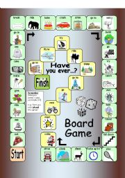 English Worksheet: Board Game - Have you ever...?