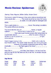 English Worksheet: Spiderman Movie Worksheets