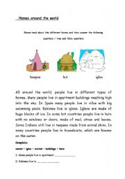 English Worksheets: Different types of homes