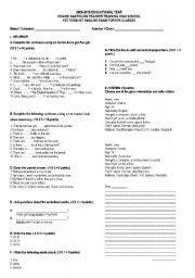 English worksheet: exam for 9th grade