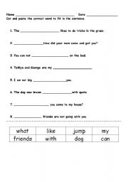 english worksheets cut and paste sentences. Black Bedroom Furniture Sets. Home Design Ideas