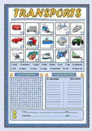 English Worksheets: TRANSPORTS