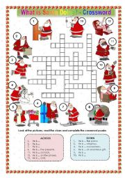 English Worksheet: WHAT IS SANTA DOING? - CROSSWORD