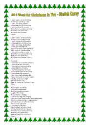 All I Want For Christmas Is You Lyrics To Print.Christmas Worksheets