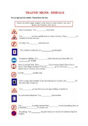 English Worksheet: TRAFFIC SIGNS - MODALS