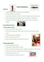 English Worksheets: Four Christmases~Movie Comprehension Questions~