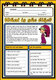 English Worksheets: WHAT IS SHE LIKE? (2 PAGES)