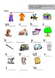 Printables Vowel Digraph Worksheets english teaching worksheets digraphs vowel digraphs