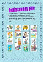 English Worksheets: Routines memory game