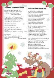 English Worksheet: Christmas activity - gapped carols lyrics
