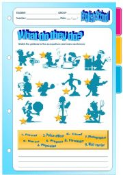 English Worksheets: What do they do? OCCUPATIONS - WS + LAYOUT + HOMEWORK