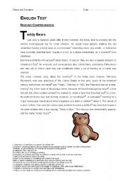 English Worksheets: Teddy Bears Reading Comprehension TEST