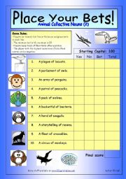 English Worksheets: Place Your Bets - Animal Collective Nouns (2)
