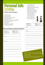 English Worksheets: Personal info - greetings