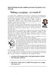 English Worksheet: Making a complaint, is it worth it?