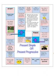 Board game - Present Simple or Present Progressive