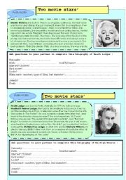 English Worksheets: Pair-work 2 movie stars
