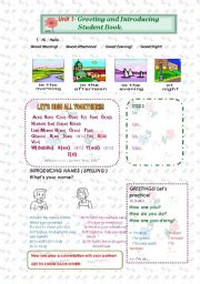 English Worksheets: greetings two pages