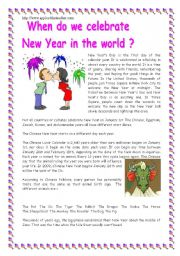 English Worksheet: When do we celebrate New Year in the world ?