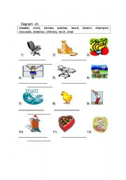 English Worksheets: Blend -CH