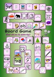 English Worksheets: Board Game - What Did You Do Yesterday?