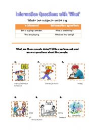 English Worksheets: information questions with