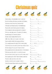 christmas quiz esl worksheet by jirka