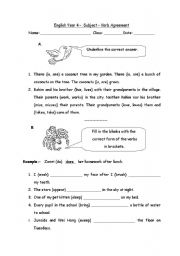 English Worksheet: Subject � Verb Agreement
