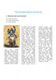 English Worksheet: Reading Comprehenshion: The Pueblo Native Americans
